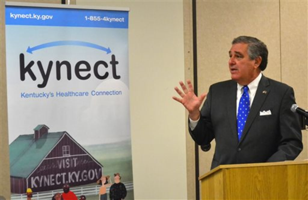 Kentucky Lt. Gov. Jerry Abramson explains the new state-run health care exchange on the first day of sign-ups for the federal Affordable Care Act in L...