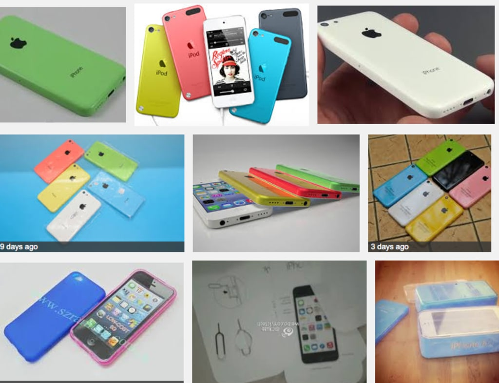 A Web search for iPhone 5C colors brings up some bright options; Apple has yet to comment on the 5C, much less colors.