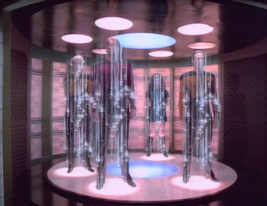 "Beats taking the subway. Starfleet officers beam to their destination via the USS Enterprise's transporter on ""Star Trek: The Next Generation."""