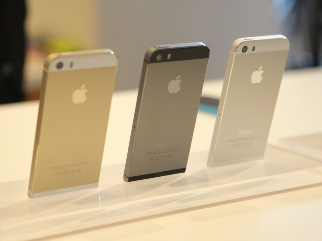 The iPhone 5S lineup, on display in Cupertino, Calif. on Sept. 10.