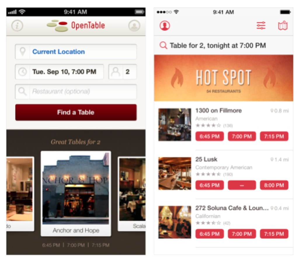 OpenTable's app before iOS 7, left, and after.