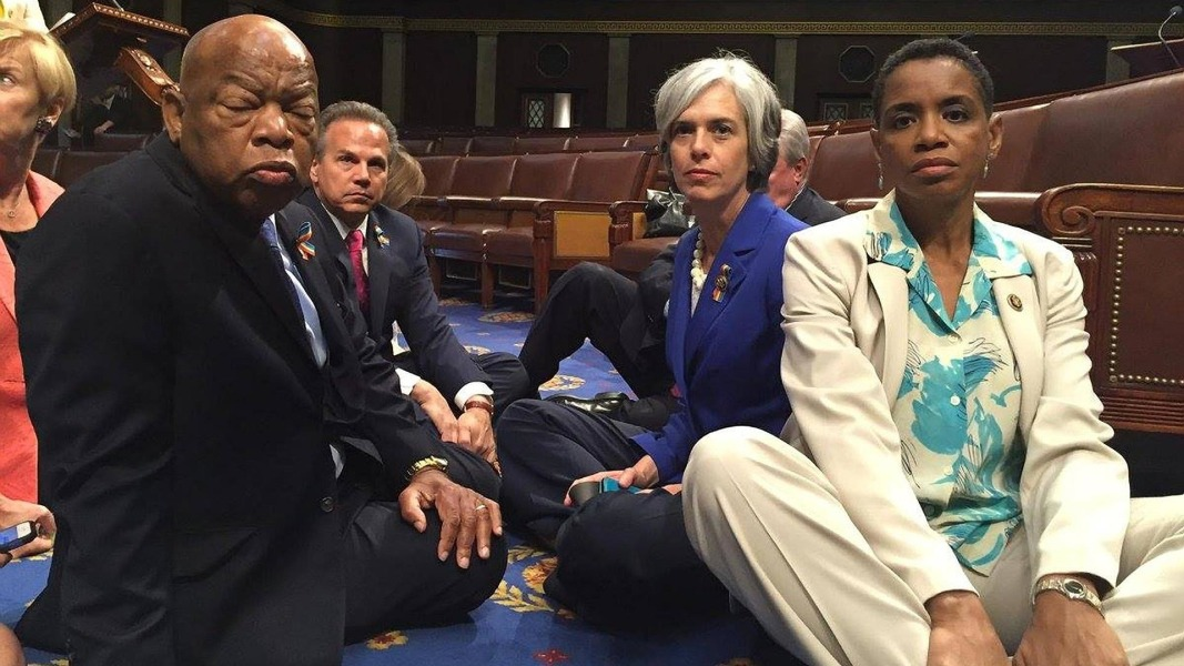 Image result for democrats sit in