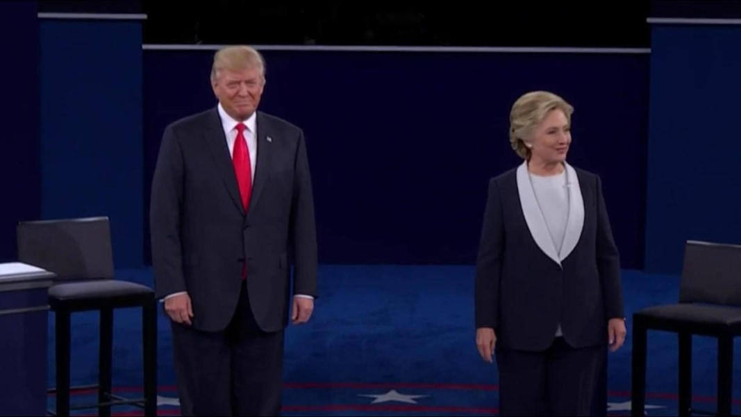 Donald Trump And Hillary Clinton Take The Debate Stage NBC News - Hillarys stage us map