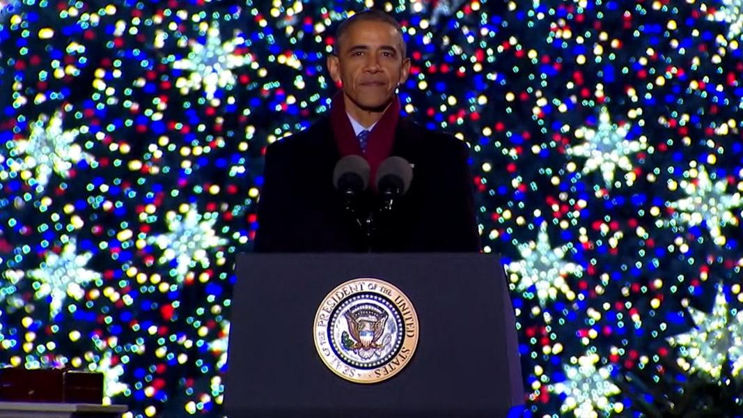 The Obamas Light National Christmas Tree for the Final Time - NBC News
