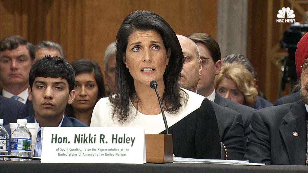 SC Gov. Nikki Haley's confirmation hearing to become United Nations ambassador