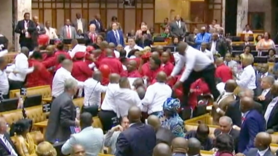 Image result for South African Lawmakers Brawl During Parliament Session