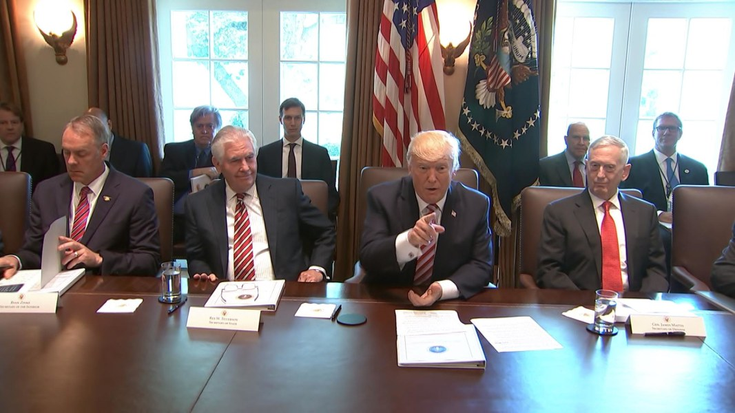 In First Full Cabinet Meeting, Cabinet Members Praise Pres. Trump ...