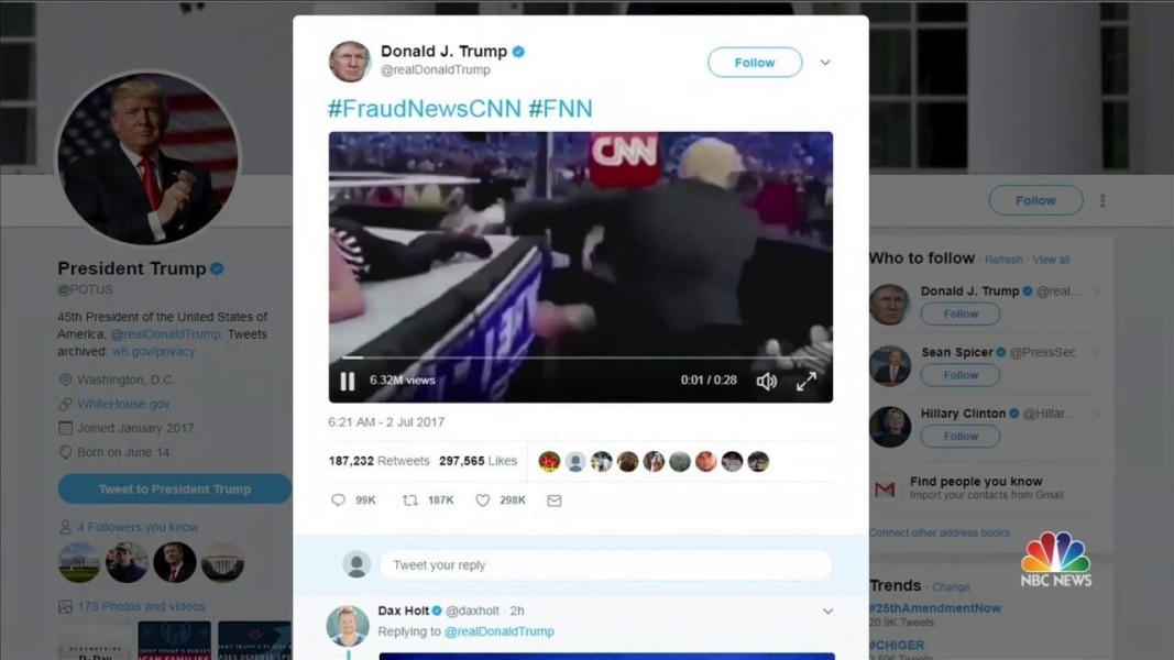 Cnn World News Twitter: President Trump Tweets Wrestling Video Of Himself