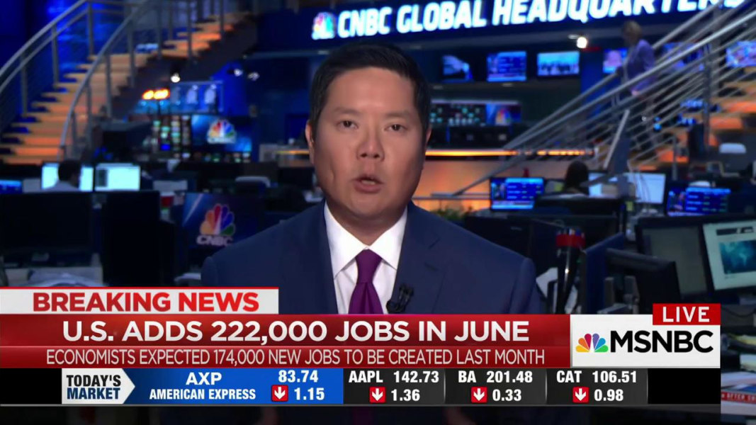 No June swoon: United States adds 222000 jobs