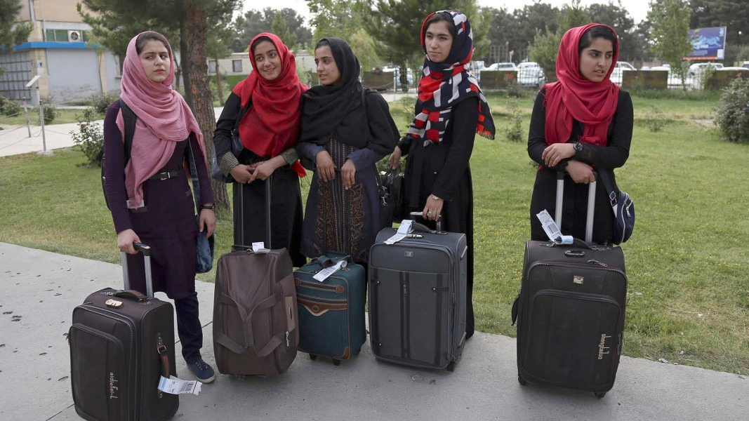 Allowed in by Trump, Afghan girls robotics team lands in DC