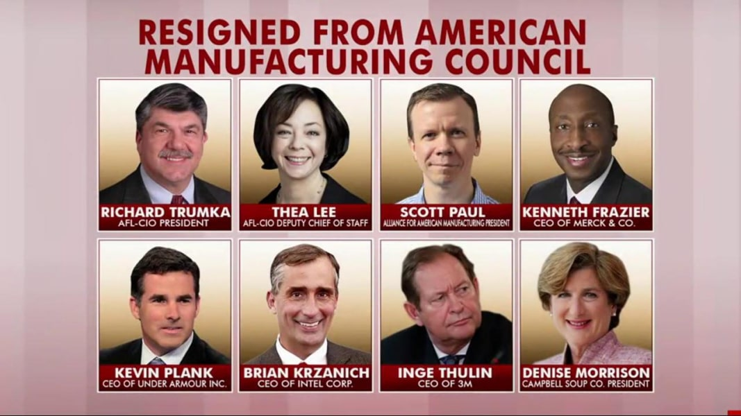 Trump ends Manufacturing Council; Members Resign