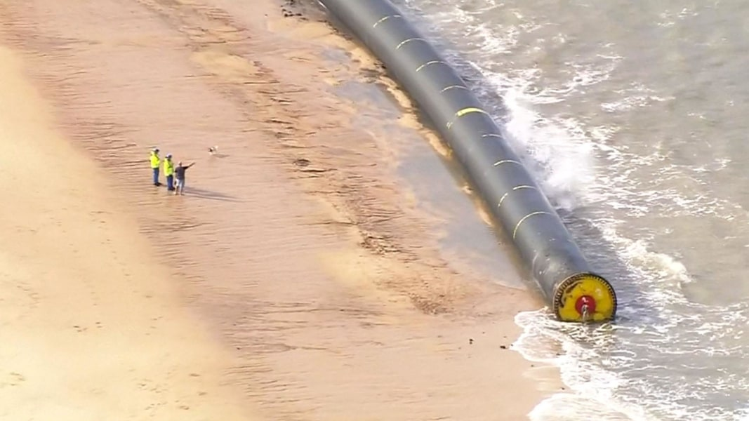Giant 480m long pipes wash up on United Kingdom shores