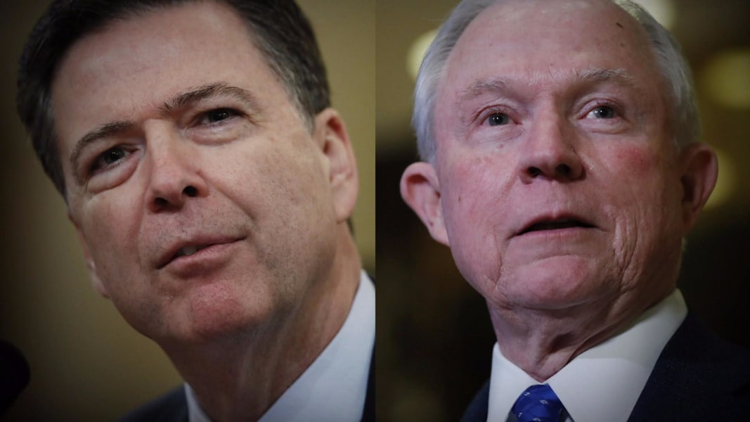 Image result for images of Trump, James Comey, Jeff Sessions