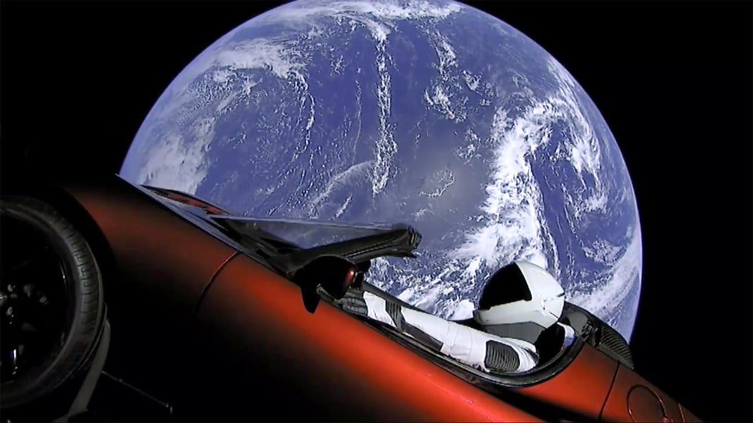 spacex launches tesla into space first car to orbit the. Black Bedroom Furniture Sets. Home Design Ideas