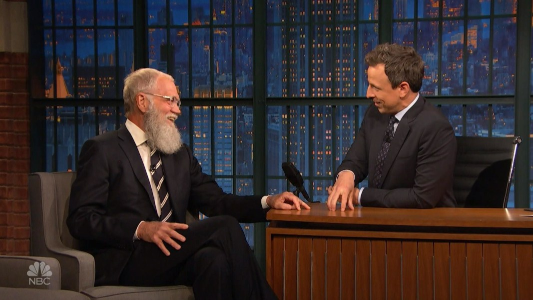 David Letterman Returns To Late Night As Seth Meyers Guest