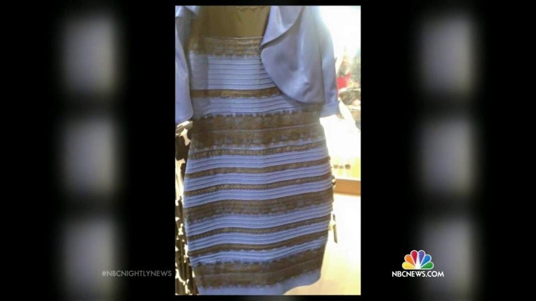 White gold dress blue and black dress
