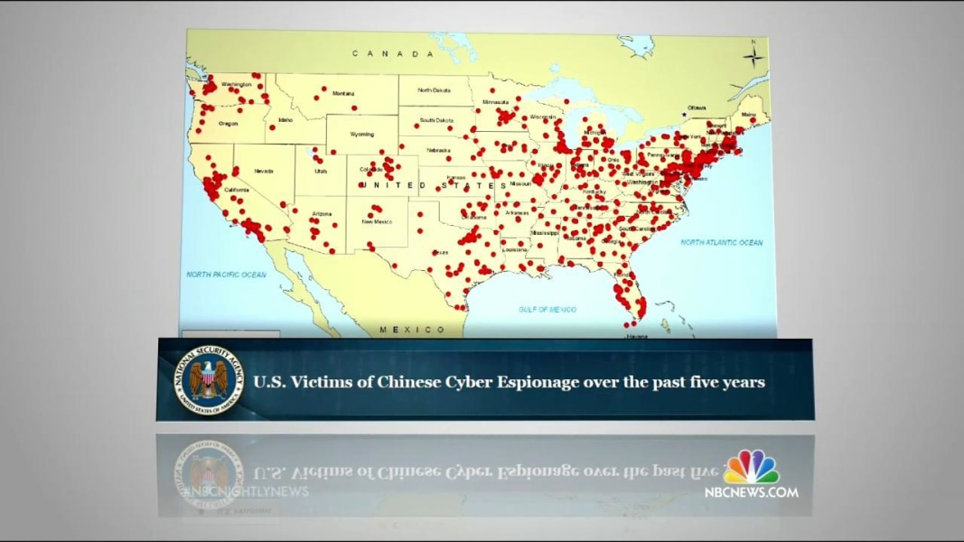Exclusive Secret NSA Map Shows China Cyber Attacks On US - Map of us chinese hacking victims
