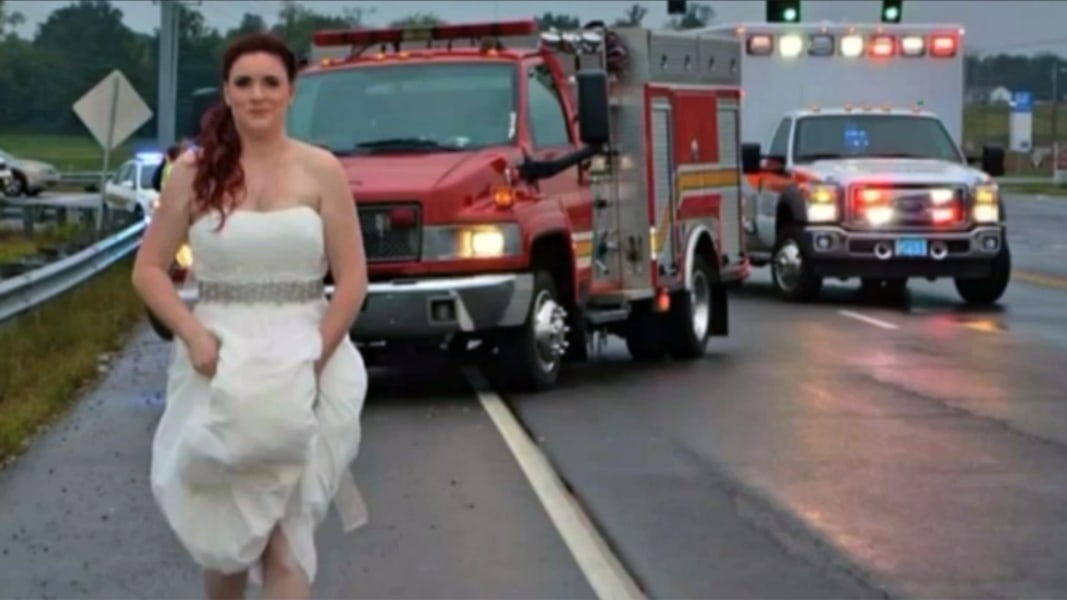 In Wedding Dress, Paramedic Bride Rushes to Help Family in Car ...