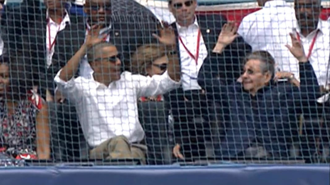 ... game president obama and president castro attend a game between the