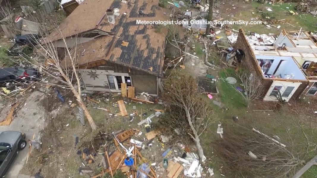 Aerial Footage Shows Pensacola Florida Tornado Damage
