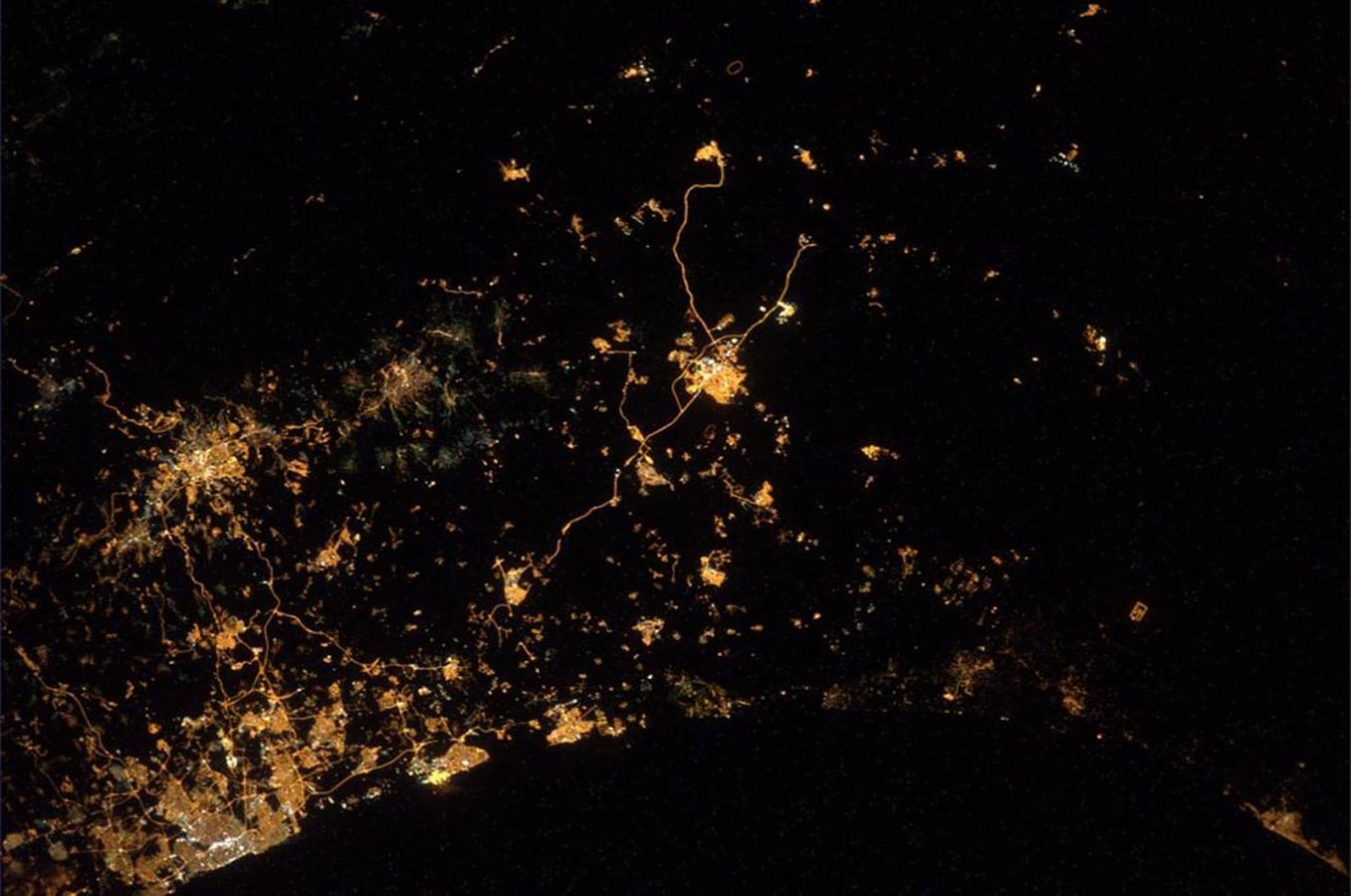 German astronaut Alexander Gerst posted this image Wednesday of Gaza and Israel as seen from the International Space Station on Twitter.
