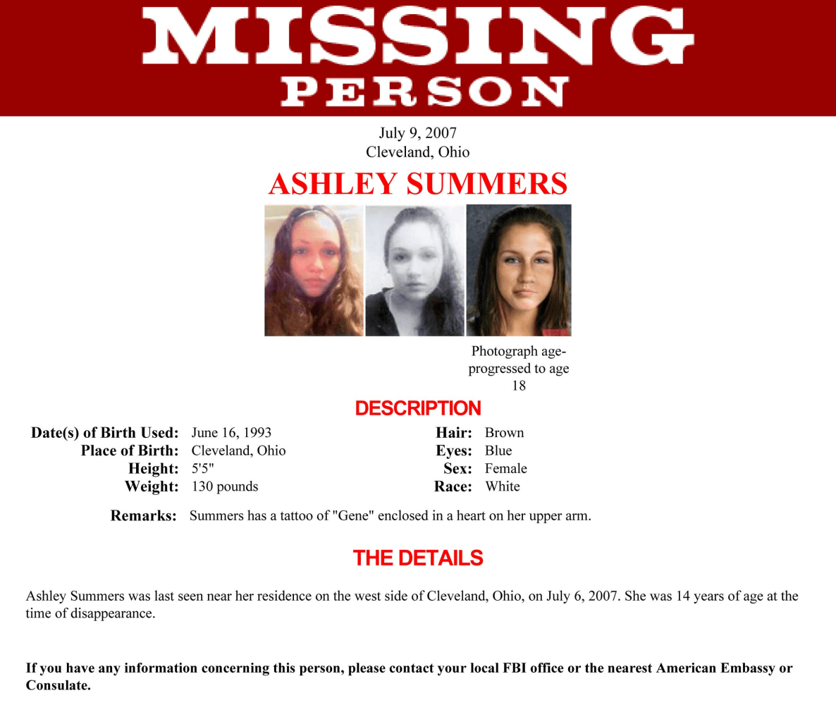 Ashley Summers. A Missing Persons Poster ...  Missing Persons Posters