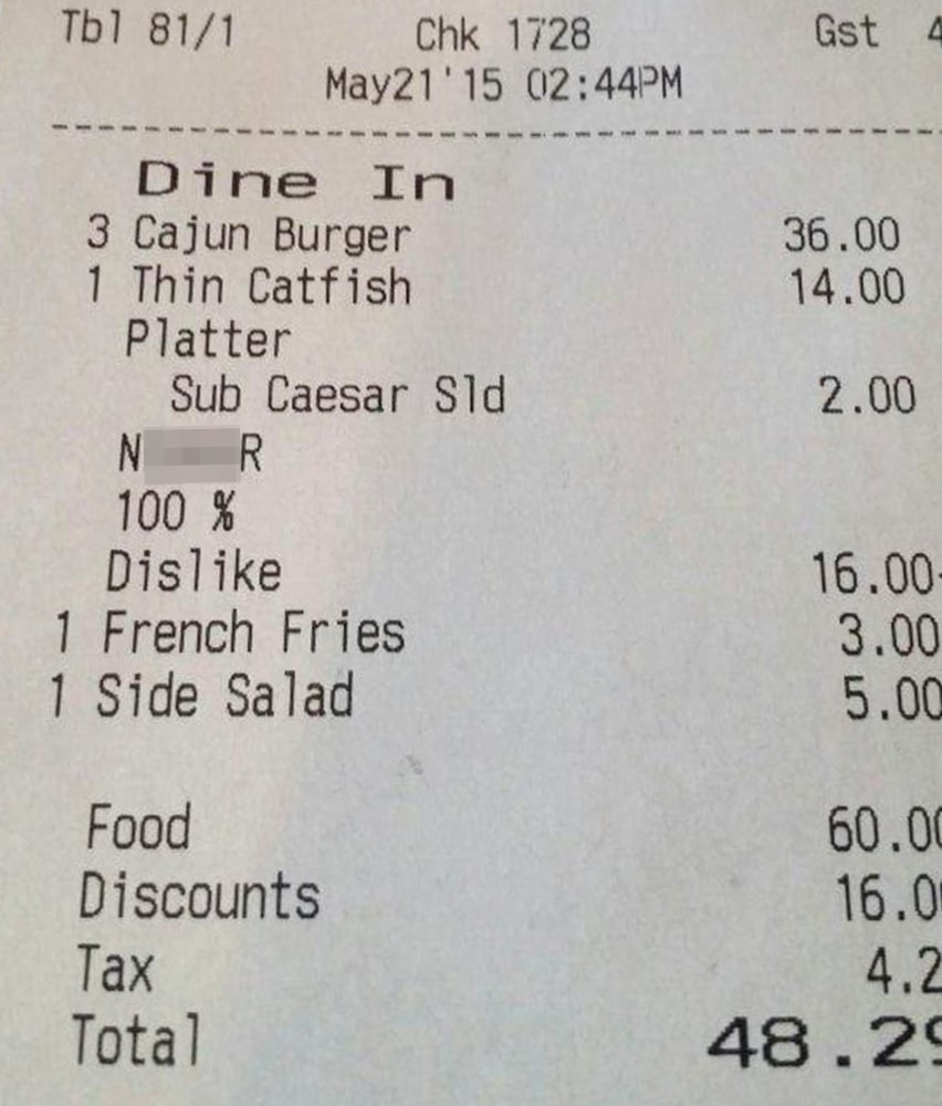 New Orleans Restaurant Extremely Apologetic for NWord Receipt – Receipt