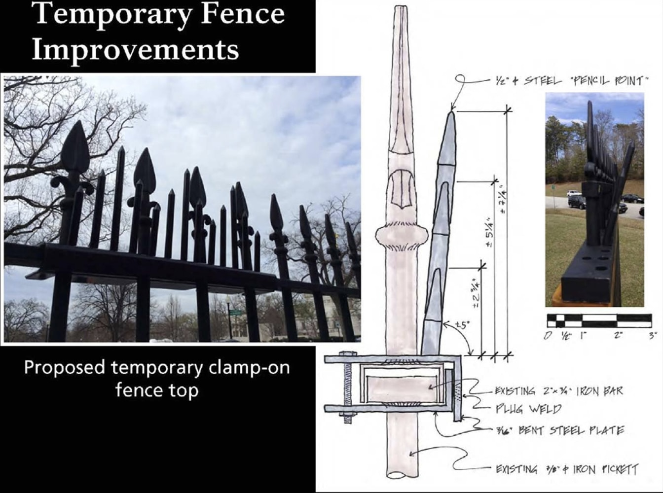 Secret service adding new metal spikes to white house fence this handout image provided by the national capital planning commission shows a diagram of a proposal for a temporary fence improvement at the white house pooptronica