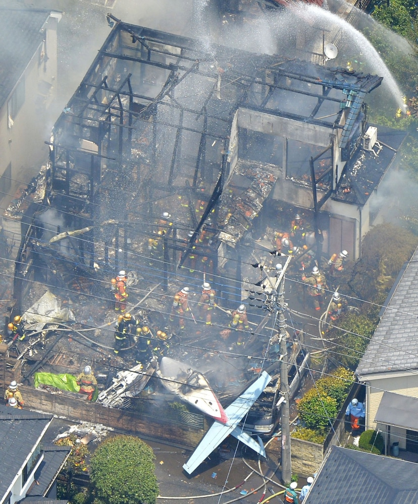 Small Plane Crashes In Tokyo Setting Homes Ablaze Nbc News