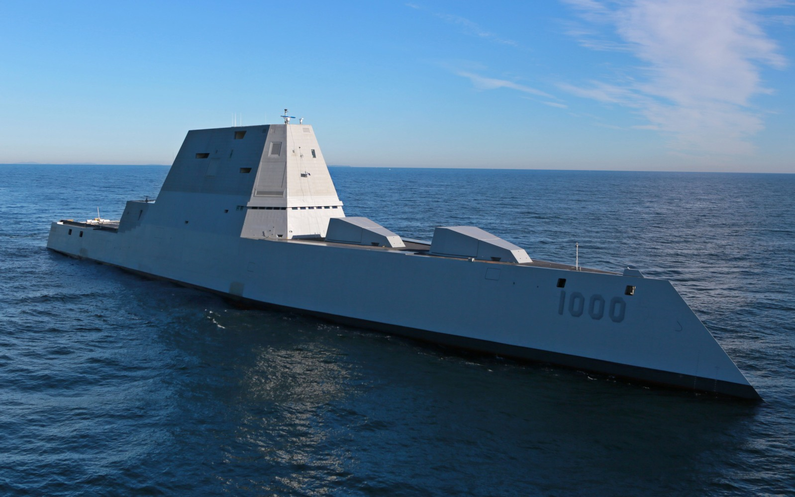 US Navy's largest destroyer ever heads out to sea for first time