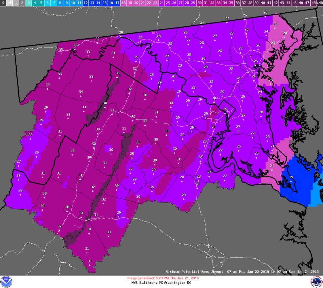 Image Forecast Potential Maximum Snowfall