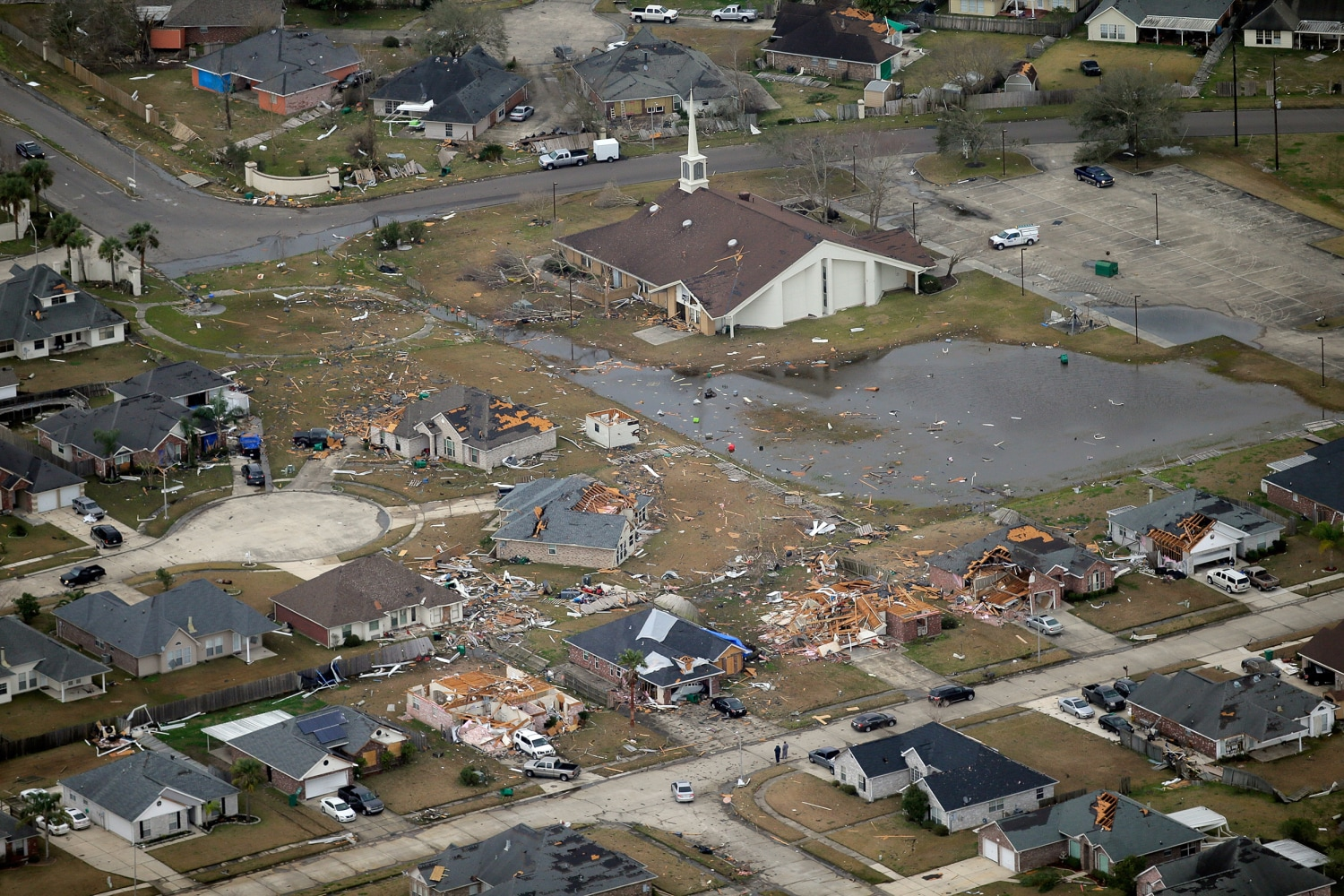 An aerial photo shows damage after a tornado in LaPlace, Louisiana ...