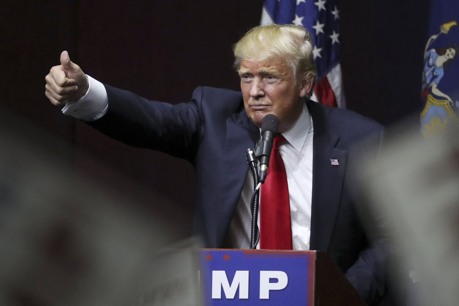Image U S Republican Presidential Candidate Donald Trump Speaks On Stage During Campaign Event At Grumman