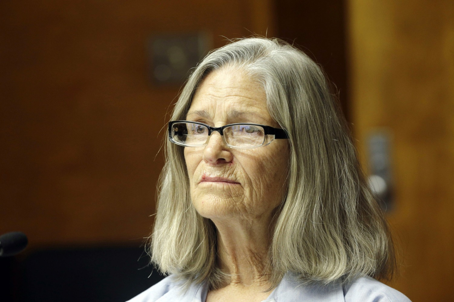 Former Charles Manson follower Leslie Van Houten is seen during a hearing before the California Board of Parole Hearings at the California Institution for Women in Chino, Calif., Thursday, April 14, 2016. Nick Ut / AP