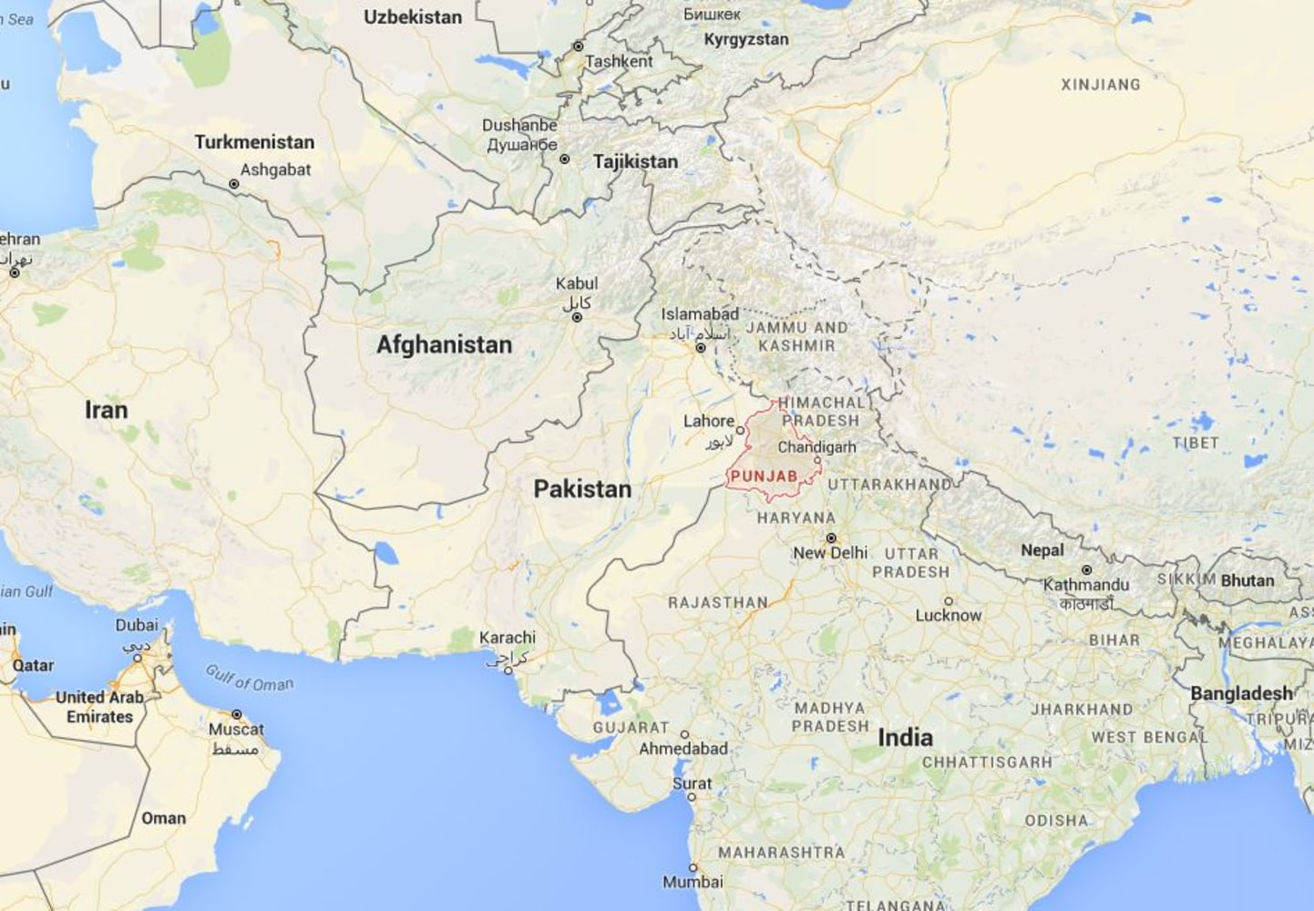 India installs laser walls at border with pakistan a map showing indias punjab state which borders pakistan google maps lasers beamed over rivers and hills will set off an alarm and alert the indian sciox Image collections
