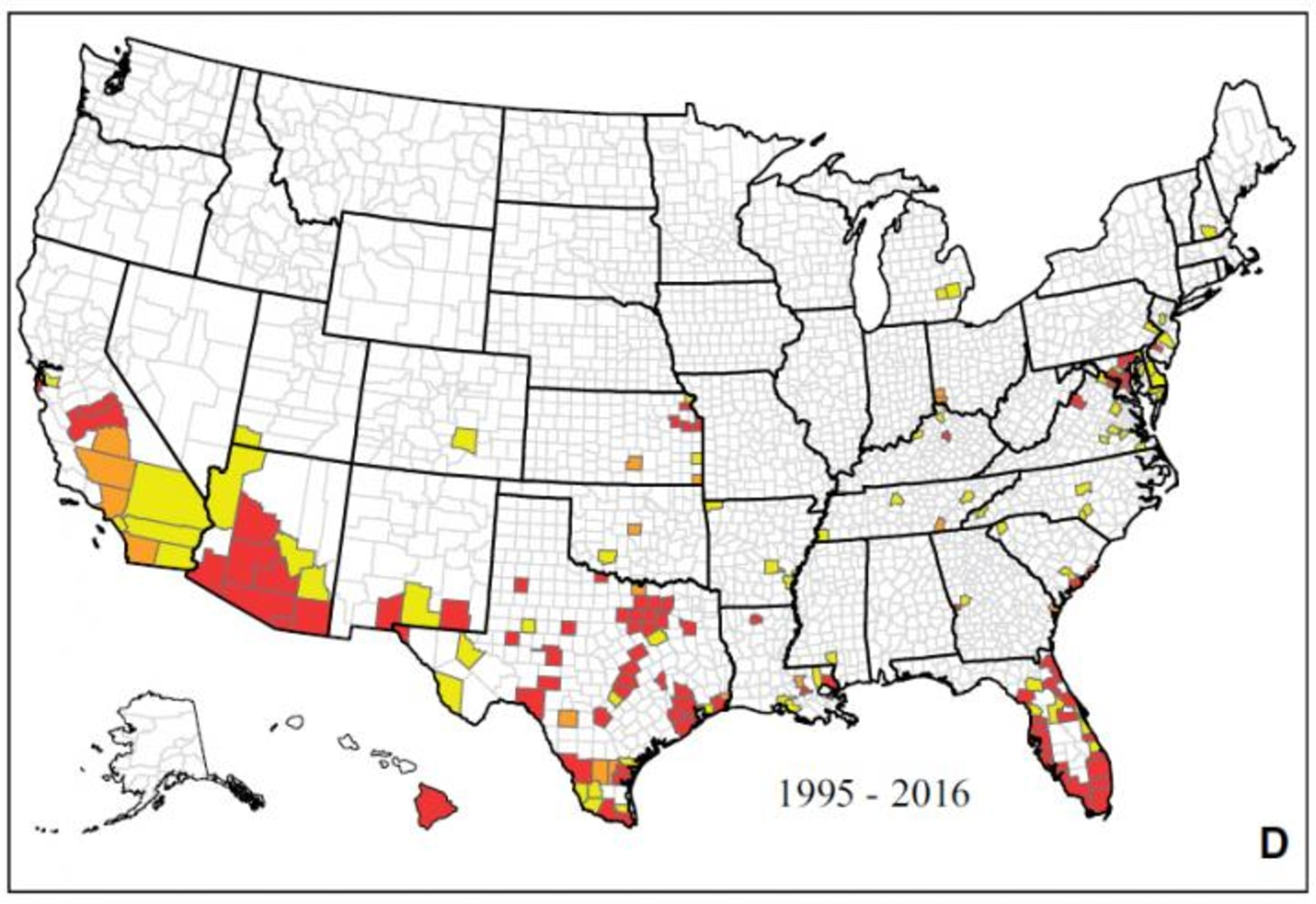 Map Showing The Reported Occurrence Of Ae Aegypti By County Between 1 January 1995 And March 2016 In The United States Counties Shown In Yellow Had Ae