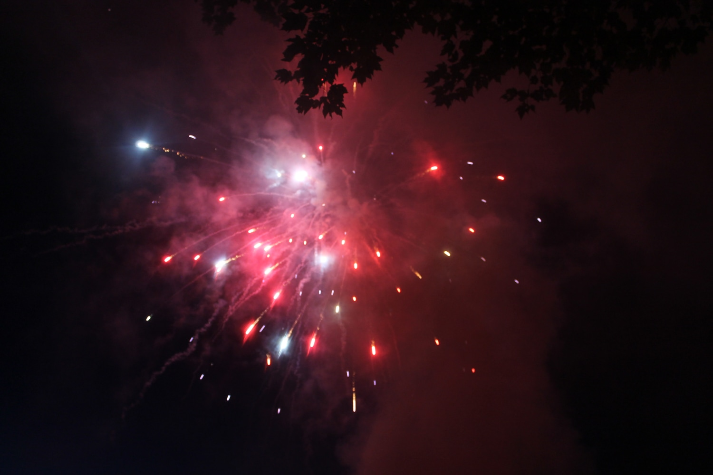 Backyard Fireworks : Fireworks explode overhead at the Rudyks annual backyard fireworks