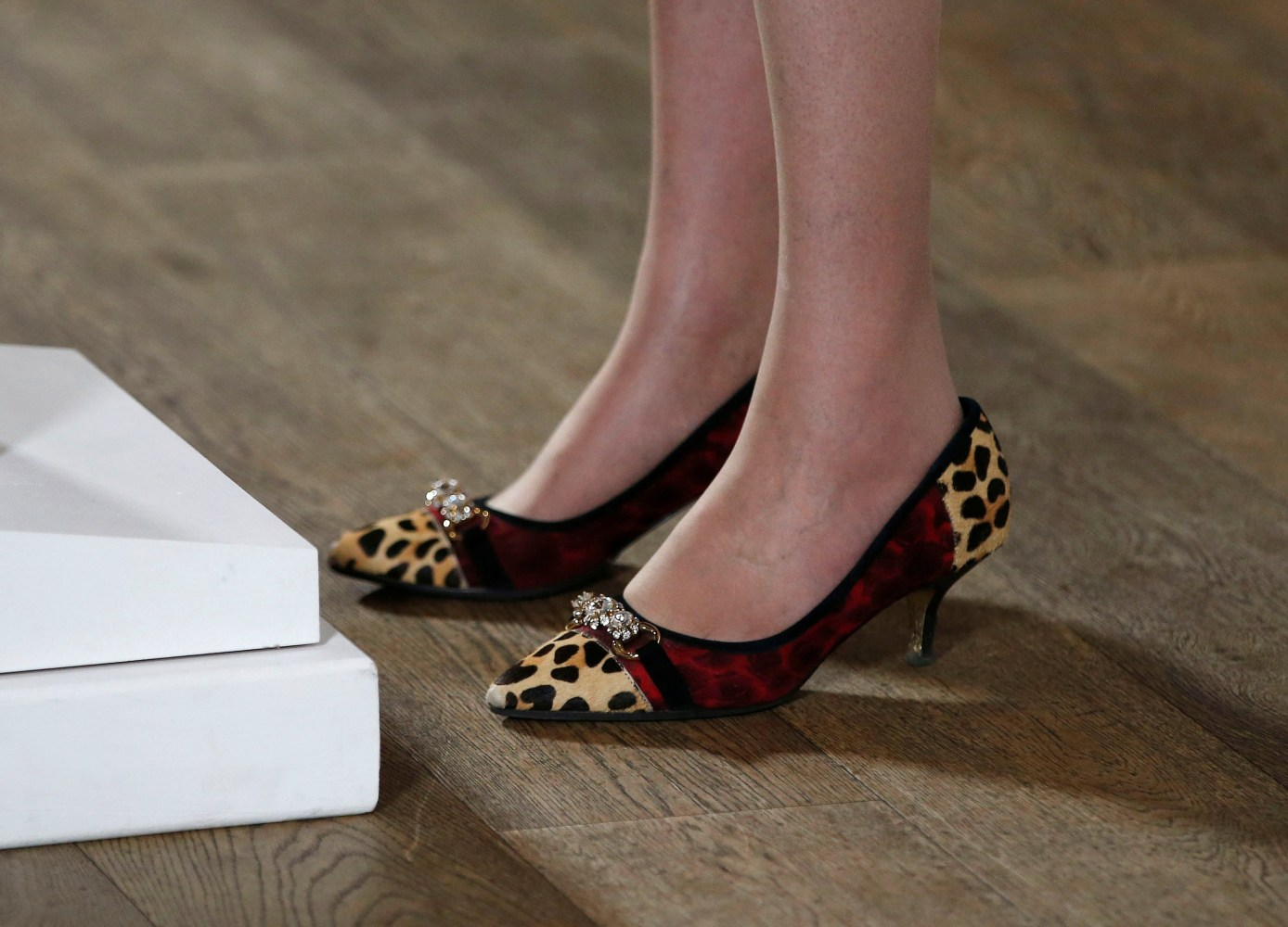 Theresa May's shoes are pictured as she speaks during an event at the ...