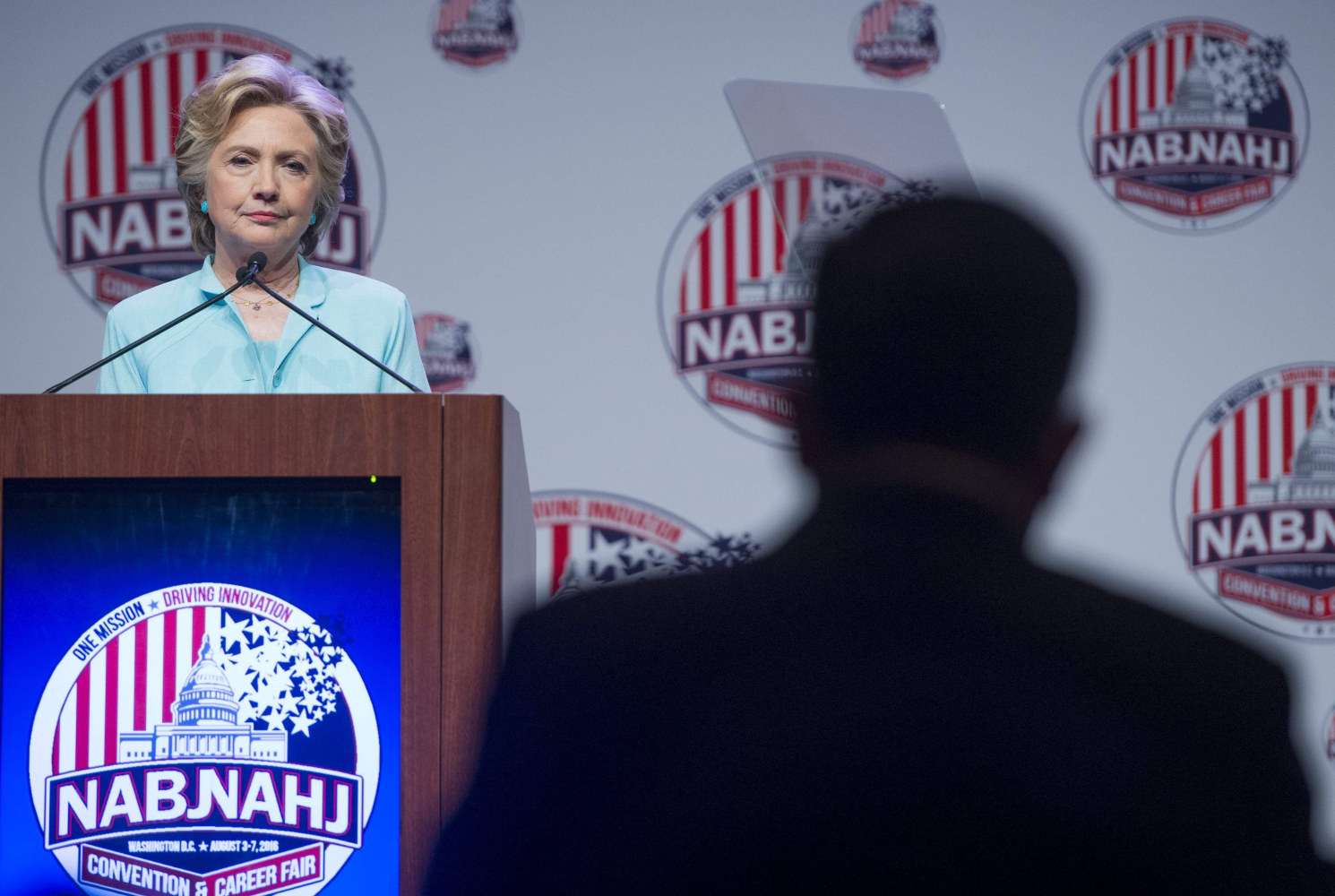 Democratic presidential nominee Hillary Clinton speaks to NABJ NAHJ Journalists