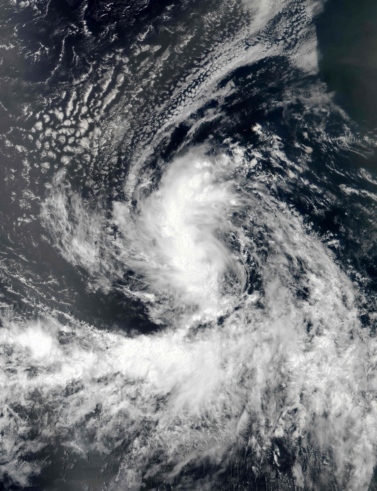 NASA satellite image of Tropical Storm Gaston in the Atlantic Ocean ...