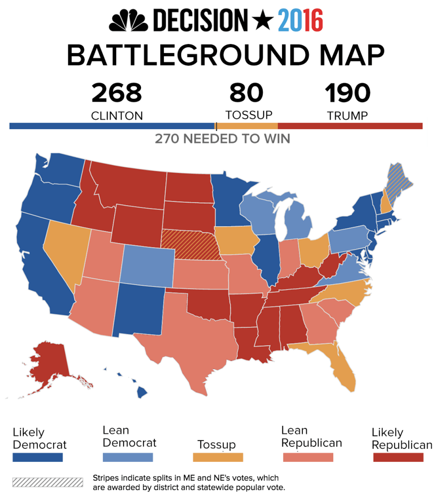 nbc s battleground map heading into the second presidential debate