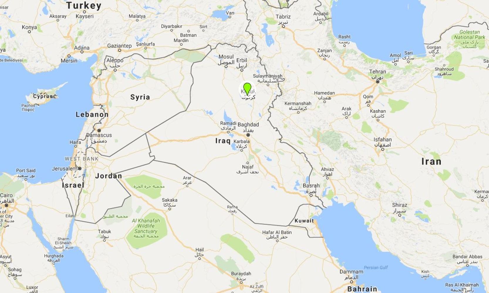 Iraq Violence US Denies Attacking Mosque In Daquq Near Kirkuk - Map showing us and iraq