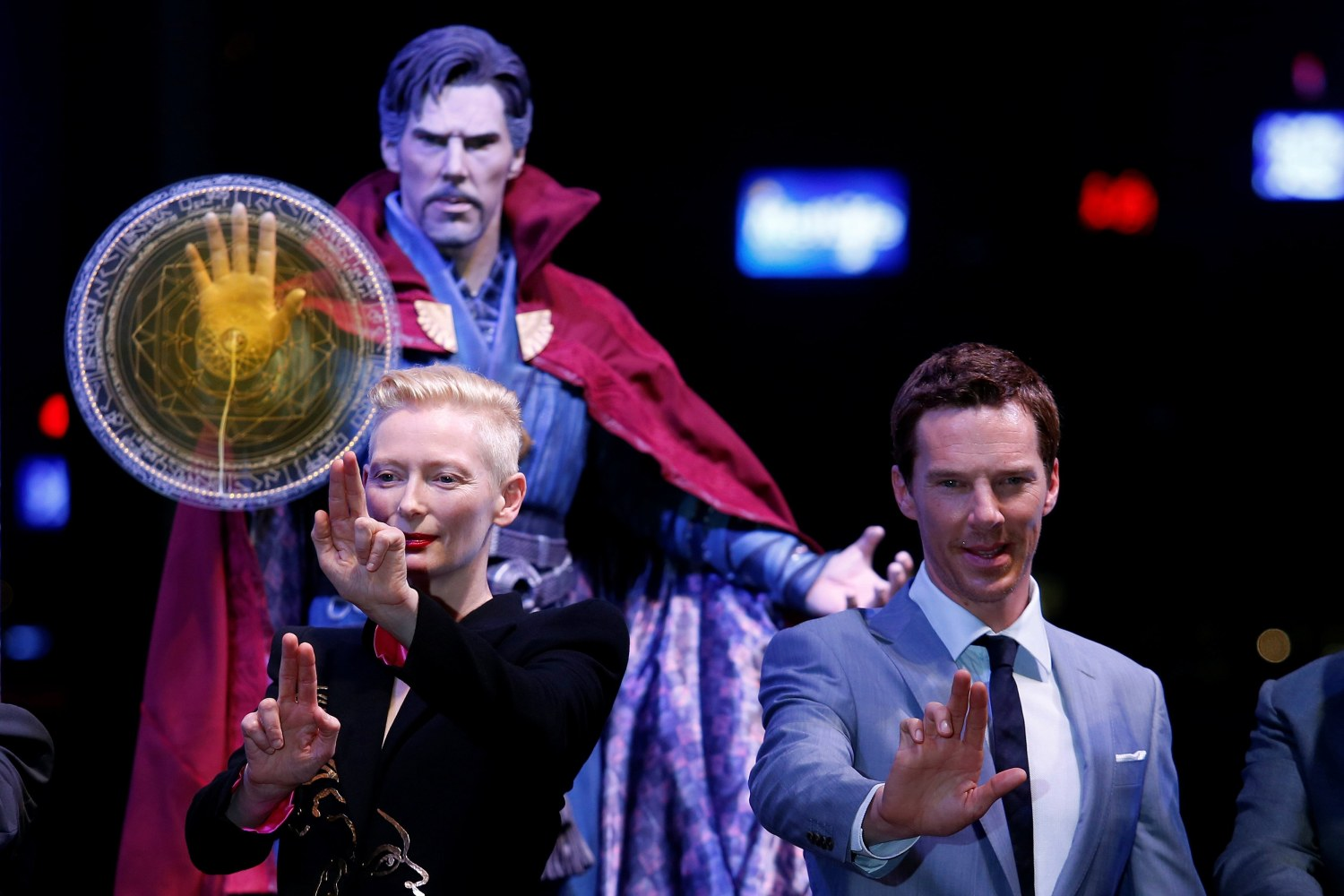"""Image: British actors Tilda Swinton and Benedict Cumberbatch pose during a promotion of film """"Doctor Strange"""" in Hong Kong"""