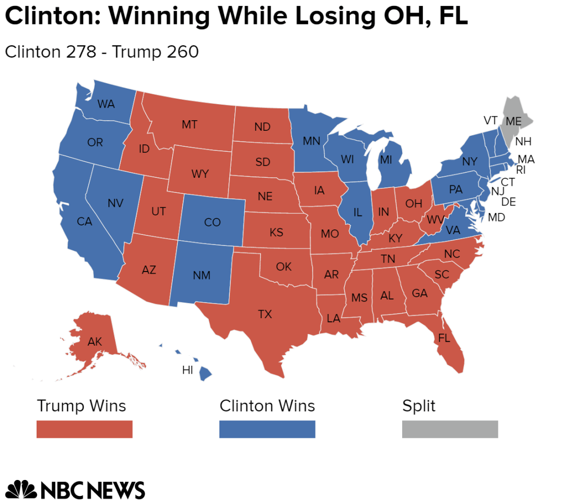 Electoral College Map Potential Paths To Victory For Clinton And - Us election electoral map calculator