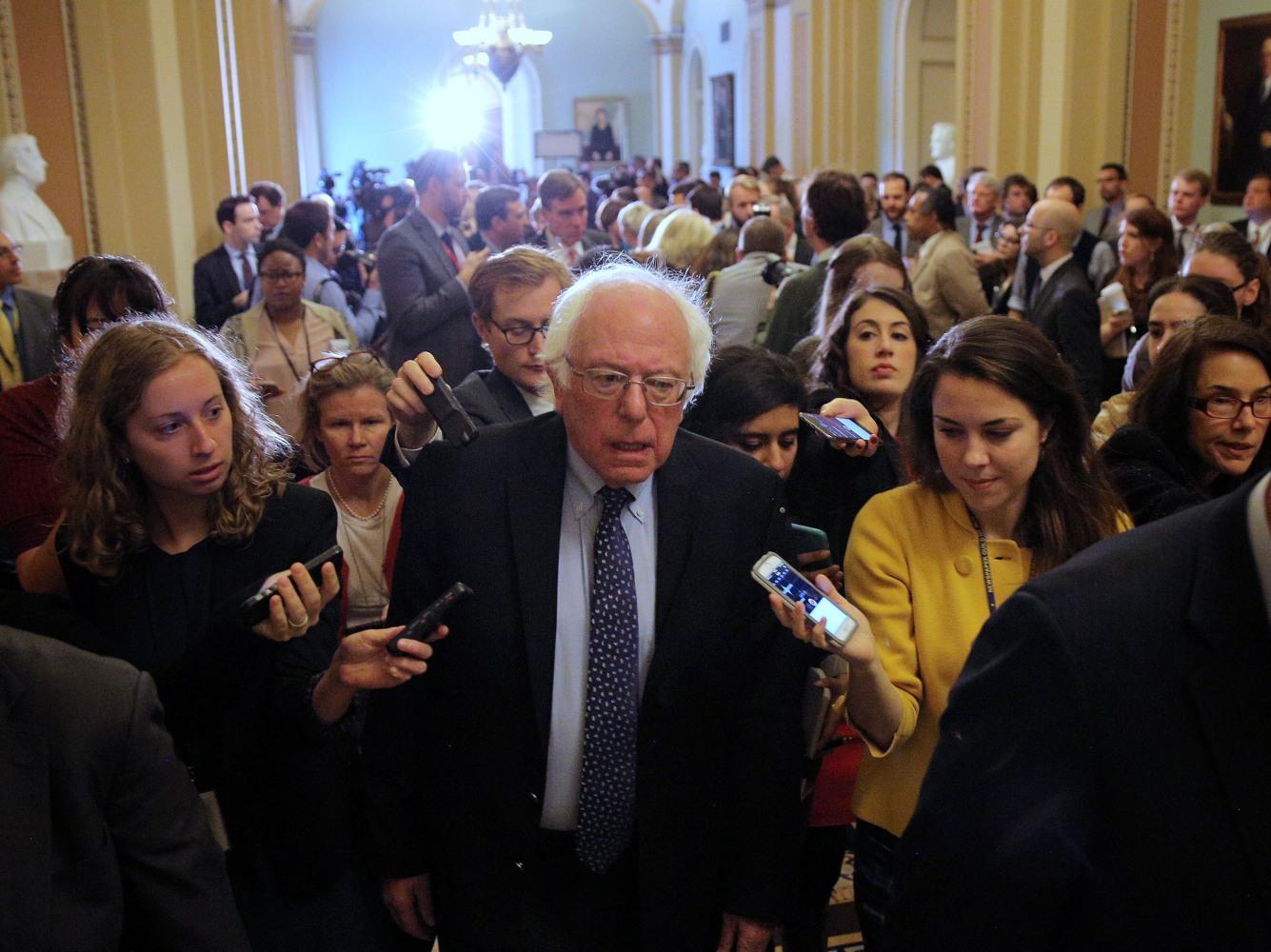 Image U S Senator Bernie Sanders Leaves After Attending The Senate Democrat Party Leadership Elections At