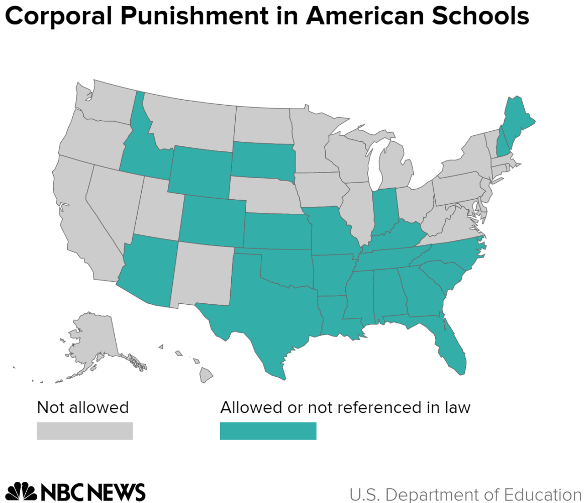 the use of corporal punishments in american schools Corporal — physical — punishment of students has a long history, and 20 states still permit its use what are the arguments for and against corporal punishment.