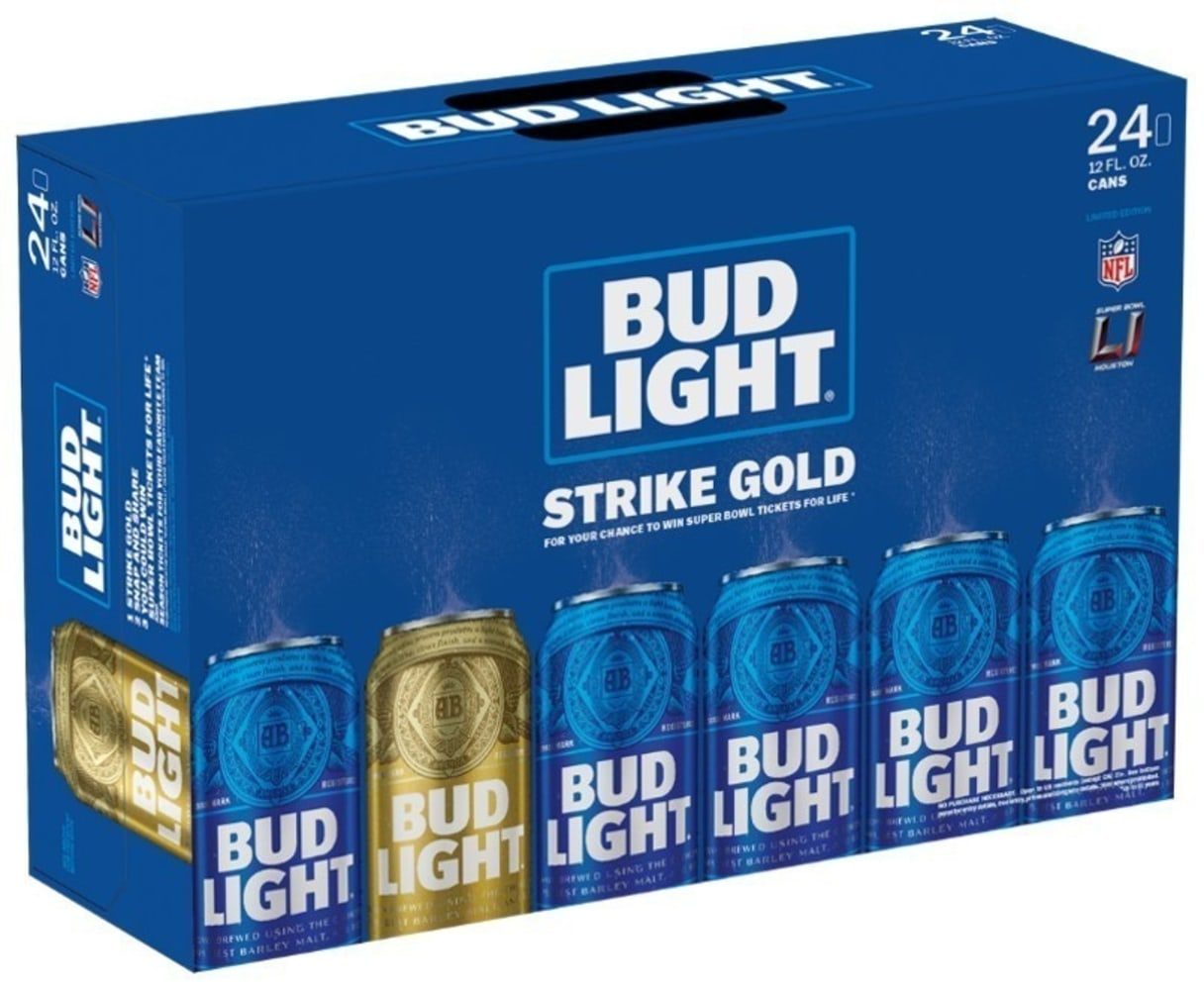 Gold Bud Light can could win you Super Bowl tickets for life