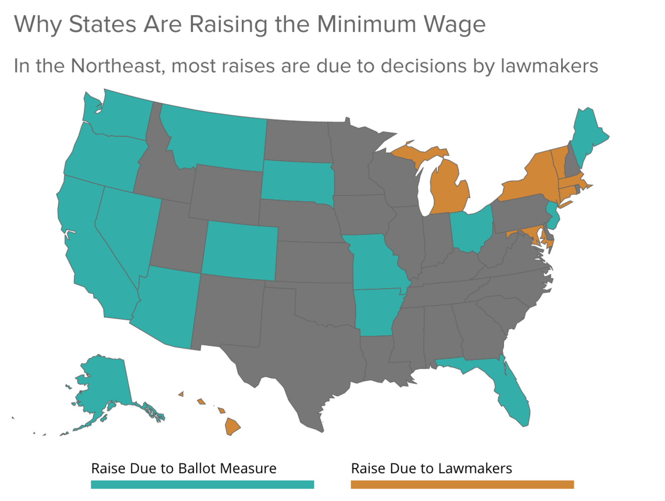 Minimum Wages Will Rise In Nearly Two Dozen States In NBC News - Minimum wage us map
