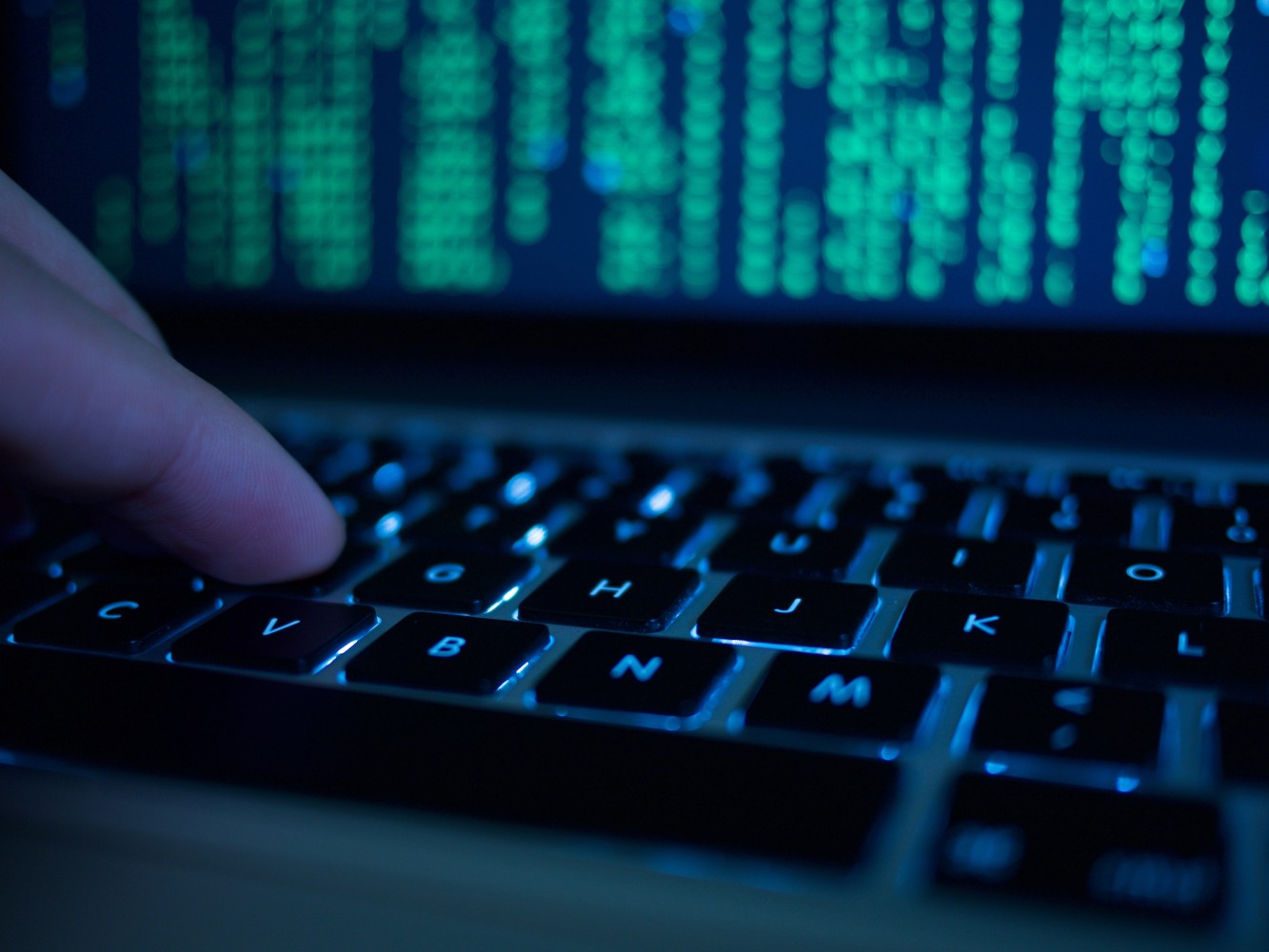 Image Computer Hacker Typing On Keyboard