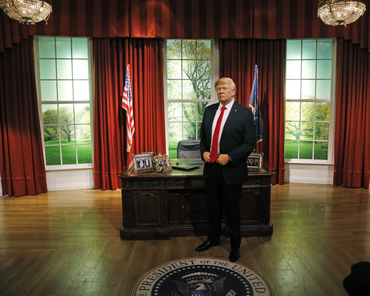 Wax Donald Trump Moves Into Oval Office At Madame Tussauds